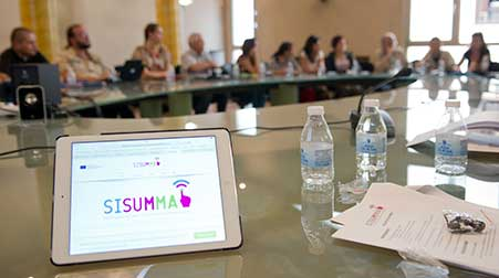 sisumma logo on a tablet